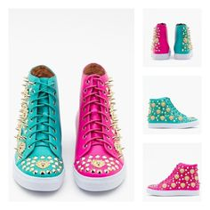 Adams Spike Sneaker Two Tone Teal Fuchsia Turquoise Gold by Jeffrey Campbell