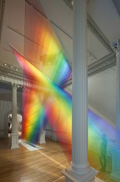 """Mexican artist Gabriel Dawe created a rainbow sculpture from 60 miles of thread. Entitled """"Plexus the sculpture forms part of the """"Wonder"""" exhibition at the Smithsonian American Art Museum's Renwick Gallery Rainbow Art, Rainbow Colors, Rainbow Light, Gabriel, Rainbow Aesthetic, Mexican Artists, Thread Art, Embroidery Thread, Contemporary Abstract Art"""