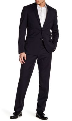 bf616529f0354 Hart Schaffner Marx Notch Lapel Front Button Wool 2-Piece Wool Suit ...