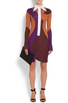 Multicolored crepe Buttoned cuffs, breast pocket, back vent Button fastenings along front 100% viscose; trim: 81% viscose, 19% polyamide Dry clean Designer color: Brown Violet Made in Italy