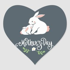 Shop Mama and Baby Bunny Mother's Day Heart Sticker created by My_Blue_Skye. Inexpensive Mother's Day Gifts, Cheap Mothers Day Gifts, Homemade Mothers Day Gifts, Mothers Day Gifts From Daughter, Mothers Day Crafts For Kids, Grandma Gifts, Love Stickers, Custom Stickers, Baby Bunnies