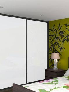 Classic 32mm steel white doors with black frame sliding wardrobe doors
