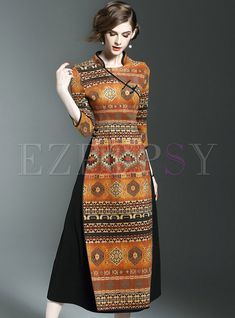 Shop Vintage Stand Collar Print Three Quarters Sleeve Slim Maxi Dress at EZPOPSY. Discover fashion online.