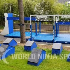 If you are looking for a ninja warrior training gym, look no further than your own backyard! If you are looking for something to keep kids busy during these times we have the perfect idea DIY project for you. We have step by step guides to build ninja warrior obstacle courses to train on.   And if you don't have the time to build the course yourself, we now have builders who will take care of all the construction for you. Our friend Justin with World Ninja Sports built these all of these course! Kids Ninja Warrior, American Ninja Warrior Obstacles, Ninja Warrior Course, Backyard Obstacle Course, Kids Obstacle Course, Kid Friendly Backyard, Backyard Playground, Backyard Gym