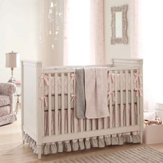 Paris Script Crib Bedding   Pink and Gray Baby Girl Crib Bedding Featuring French Damask   Carousel Designs 500x500 image