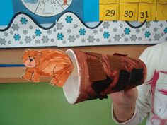 "Hibernating bear craft  - Going on a bear hunt? htis would be cute to do for the daisy's ""animal journey"".."