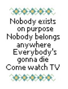 Rick and Morty Cross Stitch Pattern Nobody Exists on Purpose, Nobody Belongs…