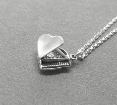 Grand Piano Necklace Sterling Silver by GirlBurkeStudios on Etsy, $35.00