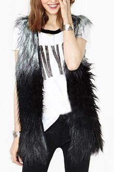 Contrast Color Faux Fur Vest