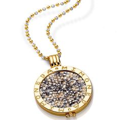 This Mi Moneda Swarovski Deluxe Champagne disc looks amazing with the yellow gold pendant and two tone alegre chain #MiMoneda