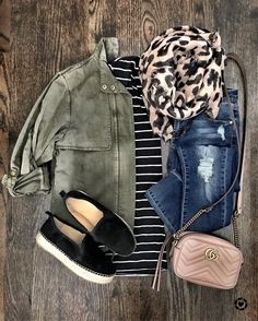 IG @mrscasual | Fall outfit with field jacket, stripe top, leopard scarf, jeans, espadrilles, & Gucci bag