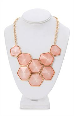 Deb Shops #Peach #Statement #Necklace with Colorful Hexagon Shapes $5.00