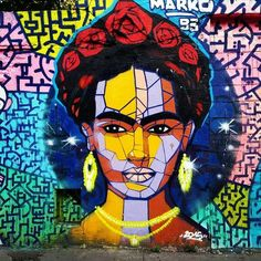 By Marko93 in Paris, France. Photo by Jean-Noël Chauvelot. STREET-ART : FRIDA KAHLO, RUE DE L'OURCQ