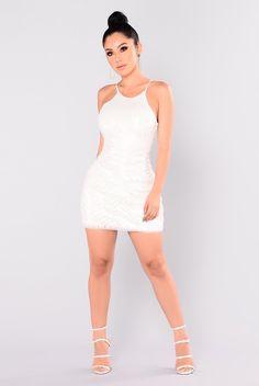 Ice Queen Sequin Dress - White