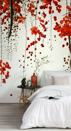 Our Red Blossom Mural Wallpaper is a beautiful design for those of you that want a design which is a little different. Capturing all the subtle elegance of Japanese cherry blossom this Asian-inspired mural will give you that amazing feature wall in your o Bedroom Wallpaper Red Colour, Wallpaper Wall, Japanese Bedroom Wallpaper, Wallpaper Ideas, Japanese Bedroom Decor, Asian Bedroom Decor, Wallpaper Designs For Walls, Asian Wallpaper, Cherry Blossom Wallpaper
