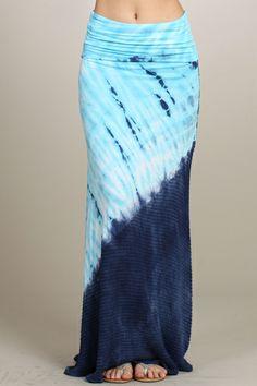 New chatoyant baby blue/navy duo fabric tie dye maxi skirt s-m-l - Tie Dye Maxi, Tye Dye, Tie Dye Fashion, Boho Fashion, Tie Dye Rock, Tie Dye Crafts, Kimono Outfit, Tie Dye Outfits, Tie Dye Shirts