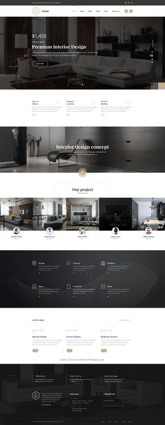 Chair is a pixel perfect and creative web site for Interior Design & Architecture. minimal and powerful, it is a best solution for a interior design studio, furniture design bureau, architect office or a modern renovation team. The template features a c& Best Interior Design Websites, Interior Design Studio, Modern Interior Design, Interior Sketch, Modern Web Design, Modern Logo, Luxury Interior, Interior Paint, Layout Design