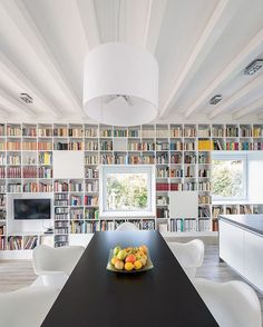 When life gives you #TheLongBrickHouse and a lot of #books...build a #bookshelf! # Designed by @foldesarchitects \\\ Photo by Levente Sirokai Library Wall, Dream Library, Library Design, Grand Library, Modern Library, Beautiful Library, Bookshelf Wall, Wall Shelving, Bookshelf Design