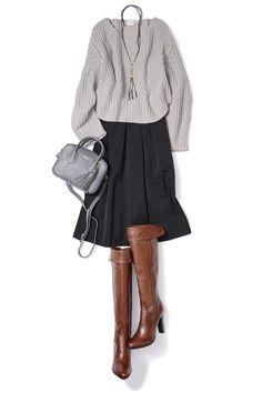 タフタ素材のスカートで艶感のある爽やかニットスタイル! ― A