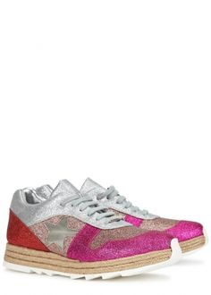 Stella McCartney multicoloured faux leather trainers Wovenflatform measures approximately 1.5 inches/ 40mm Glittered, panelled,mesh star insert, designer plaque, serrated rubber sole Lace-up front
