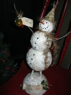 Snowman, paper mache & glitter with vintage glass ornament decorations.