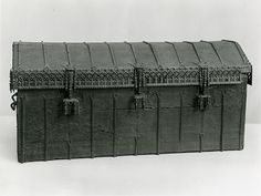 """Chest Metropolitan Museum  Date: 15th century Culture: Spanish Medium: Leather, iron and wood Dimensions: H: 22 1/2"""" W: 50 1/2"""" D: 21"""" (57.1 x 128.3 x 53.3 cm)"""