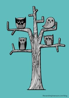 Four owl friends from my blog.