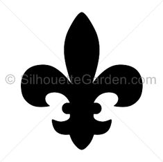 Fleur de lis silhouette clip art. Download free versions of the image in EPS, JPG, PDF, PNG, and SVG formats at http://silhouettegarden.com/download/fleur-de-lis-silhouette/