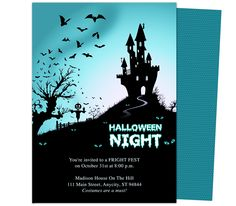 Daunting Halloween Party Templates. A haunted house sits dreadfully on a hilltop at the midnight hour in this eary halloween party template design.