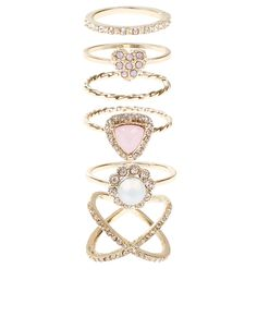 Pretty Crystal Styling Ring Set | Multi | Accessorize