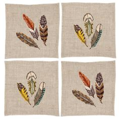 Embroidered Napkins with colourful feathers