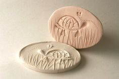 Clay Stamp Turtle in Grass with Butterfly Tool for Polyclay Pottery Ceramics