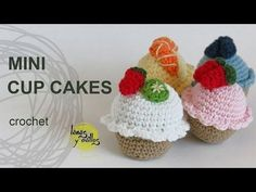 Tutorial Mini Cupcakes Amigurumi Crochet o Ganchillo - YouTube
