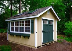 This potting shed can come in many different colors and sizes.Come standard with skylights, potting bench,Lg windows, and antique hardware. pressure treated 4x4's skids Pt.2x4's 16 oc. floor joists and 16''oc. walls and roof joist. duratemp siding, vinly, and LPsmart siding are avi. etc. barns, sheds, garages, barn, shed and garage