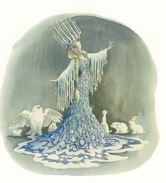 """Walt Disney World Fantasyland concept art by Marc Davis """"Marc Davis made designs for a snow-themed ride in the late It was to be a boat ride in Fantasyland and was also considered at one point for Disneyland. Walt Disney, Disney Frozen, Frozen Art, Retro Disney, Vintage Disney, Hans Christian, Marc Davis, Snow Queen, Ice Queen"""