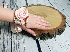 Blush Pink Green Cypress Wrist Corsage Sola Flowers Delicate Romatic Dried Flowers - Wedding table decor (*Amazon Partner-Link)