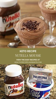Quick and Easy Nutella Mousse Recipe Fun Easy Recipes, Healthy Dessert Recipes, Popular Recipes, Sweet Recipes, Delicious Desserts, Easy Meals, Yummy Food, Amazing Recipes, Yummy Recipes
