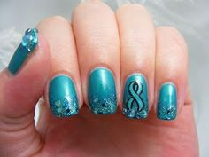 The teal deal for pcos pcos cancer nails, breast cancer nail Ovarian Cancer Awareness, Cervical Cancer, Autism Awareness, Pcos, Endometriosis, Cute Nails, Pretty Nails, Diy Nails, Manicure