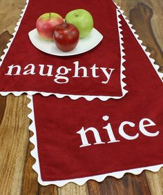 Take a look at this Red & White 'Naughty' & 'Nice' Table Runner by Chooty & Co. on #zulily today!