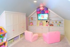 Kids Playroom Special for Girls with Cabinet White Wood and Sofa Sweet Baby Pink Color