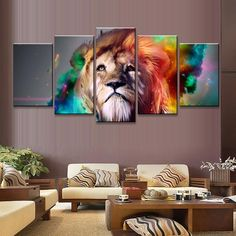 5 Pcs/Set Abstract Colorful Lion Head Print On Canvas Painting Creative Artistic Animal Wall Art Painting For Bedroom picture – Bedroom Ideas – Bedroom Decoration Canvas Wall Art, Wall Art Prints, Canvas Prints, Canvas Frame, Bedroom Canvas, Bedroom Wall, Tableau 5 Parties, Multi Picture, Bedroom Pictures