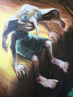 Jim Kay's illustration of Dobby the house-elf from Harry Potter and the Chamber of Secrets Illustrated Edition Harry Potter Poster, Harry Potter Jim Kay, Harry Potter Fan Art, Harry Potter Characters, Harry Potter World, Harry Potter Memes, Harry Harry, Harry James, James Potter