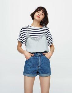 Short denim mom fit - Novedades - Mujer - PULL&BEAR España