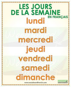Les jours de la semaine en français - (The days of the week in French) #FLE