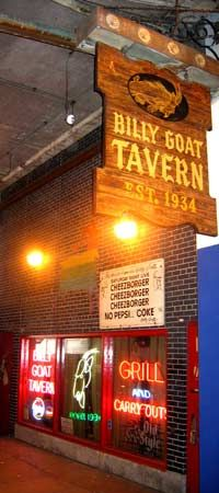 The Billy Goat Tavern, Chicago for, what else?  Cheezborgers, cheeps, no Pepsi, Coke!