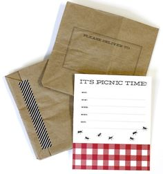 "BBQ Picnic printable-invitation--- print on paper bag, fold over, tape... cute!  *the ""please deliver to:"" digital stamp is a freebie!"