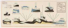 Planos de diseños de Dazzle Ships realizados en Estados Unidos (Erik Gould, Fleet Library at RISD, Providence, RI.)