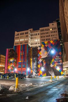 """The Times They are a Changin"" Bob Dylan mural by Eduardo Kobra. Minneapolis, Minn. 
