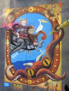 Voyages, 12' chalk mural, Jen Swain Chalk Drawings, Painting, Art, Art Background, Painting Art, Kunst, Paintings, Performing Arts, Painted Canvas