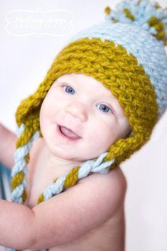 Baby Boy Crochet Hat with Ear Flaps and a by crochetbynicolelynn, $17.50